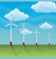 landscape with wind turbine clouds vector image