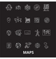 maps editable line icons set on black vector image