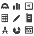Monochrome flat maths icons vector image vector image