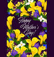 mother day greeting card in spring flower frame vector image vector image