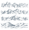 mountains landscape engraving vintage hand drawn vector image vector image