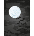 night with moon skull and bats vector image vector image