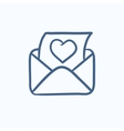 Open envelope with heart sketch icon vector image vector image