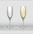 realistic champagne glass empty and full vector image vector image