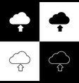 set cloud download icons isolated on black and vector image vector image