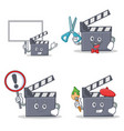 set of movie clapper character with bring board vector image