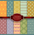 set of various vintage colorful seamless patterns vector image vector image