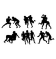 set pictures with silhouette american football vector image