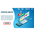 statistical analysis concept banner isometric vector image vector image