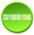stay forever young green round flat isolated push vector image vector image
