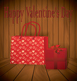 Valentine day Realistic red shopping bag with vector image vector image