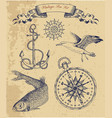 vintage sea set with fish gull and anchor vector image vector image