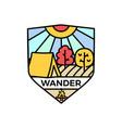 wander logo emblem template adventure label vector image vector image
