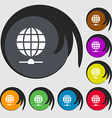 Website Icon sign Symbols on eight colored buttons vector image