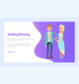 wedding planning broom in suit and bride in dress vector image vector image