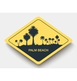 icon palm beach and shadow vector image