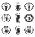 set of emblems with beer mugs vector image