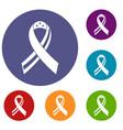 american ribbon icons set vector image vector image