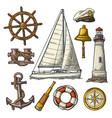 anchor wheel sailing ship compass rose vector image vector image