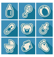 Baby Shower Square Icons vector image vector image