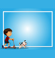 blue background template with boy and pet dog vector image vector image