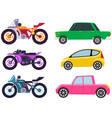 cars and motorcycles different types without vector image vector image