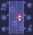 cars scaning on road vector image vector image