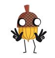 cartoon acorn character vector image vector image