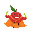 cartoon superhero character red apple vegetarian vector image