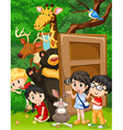 Children and wild animals in jungle vector image vector image