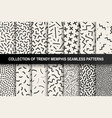 collection of memphis seamless patterns fashion vector image vector image