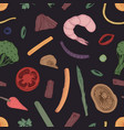 colored seamless pattern with food pieces vector image