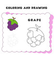 coloring and drawing book element grape grape vector image vector image