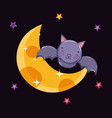 cute bat night moon halloween vector image