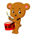 cute bear playing drum vector image vector image