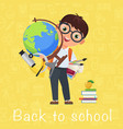 cute pupil boy back to school isolated cartoon vector image vector image