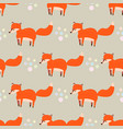 cute seamless pattern with little foxes fox vector image vector image