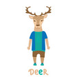 deer hipster with dressed up in blue t-shirt art vector image