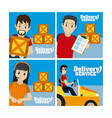 delivery service cards vector image