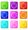 donut icons 9 set vector image vector image