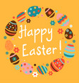 easter frame with easter eggs flowers and dots vector image