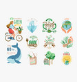 ecology and recycle quotes set save environment vector image vector image