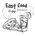 fast food snack isolated on white - hand drawn vector image vector image