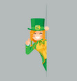 female leprechaun gnome pointing finger up looking vector image vector image