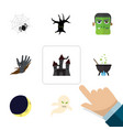 flat icon festival set of monster spinner vector image vector image