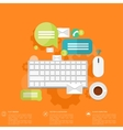 Flat keyboard icon Contact social network vector image