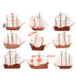 flat set of old wooden ships large marine vector image