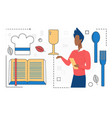 food cooking man character with cookbook chef vector image vector image