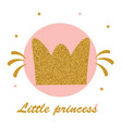 gold glitter crown on pink background and text vector image vector image