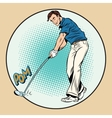 Golf player has a stick in the ball vector image vector image